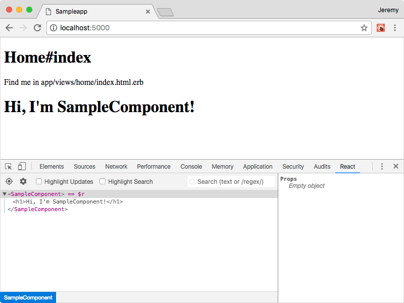 Screenshot of React component